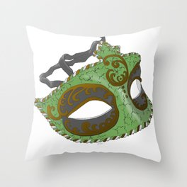 Venetian Mask - Green Throw Pillow