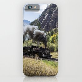 Scenic Railroad train pulled by a vintage steam locomotive chugs through the San Juan Mountains in t iPhone Case