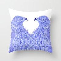 eagle Throw Pillows featuring Eagle by Olya Goloveshkina
