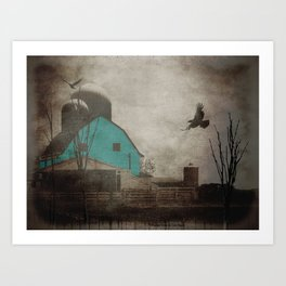 Rustic Teal Barn Country Art A158 Art Print