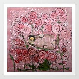 Among the Roses Art Print