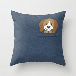 Beagle in a Pocket Throw Pillow