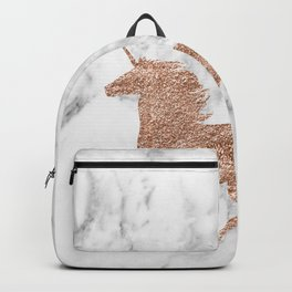 Rose gold unicorn on marble Backpack
