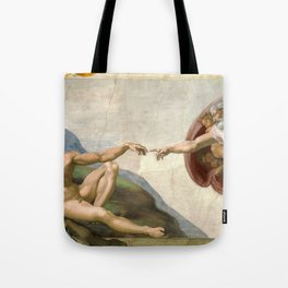Michelangelo, The Creation of Adam, 1510 Tote Bag