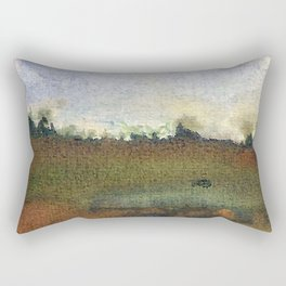 English countryside watercolour and ink landscape painting Rectangular Pillow