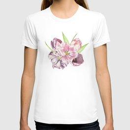 watercolor tulips pattern T-shirt