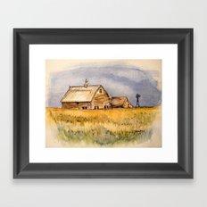 Barns and Windmill Framed Art Print
