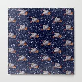 Little Foxes in the Snow Metal Print