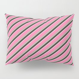 Pink Roses in Anzures 4 Stripes 2D Pillow Sham
