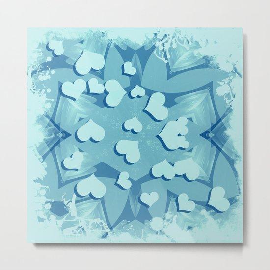 Grunge floating hearts in blue Metal Print