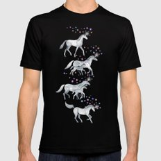 Unicorns and Stars on Soft Grey Black X-LARGE Mens Fitted Tee