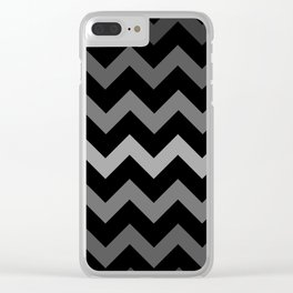 Deep Gray Gradient Chevron on Black Clear iPhone Case