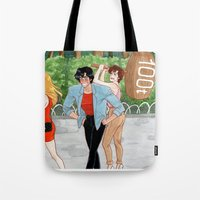abigail larson Tote Bags featuring Nicky Larson by Naineuh