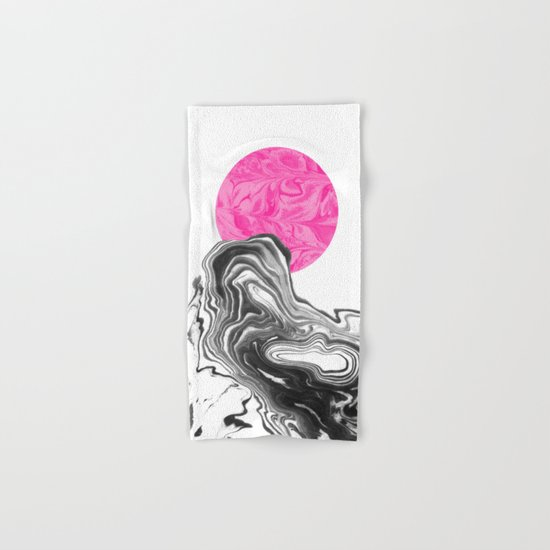 Iniko - spilled ink abstract japanese watercolor painting minimal modern black and white marble  Hand & Bath Towel