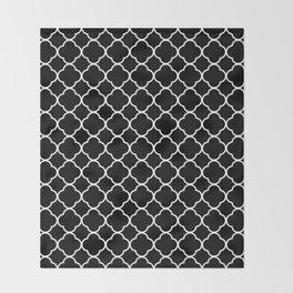 Clover Quatrefoil Pattern: Black & White Throw Blanket