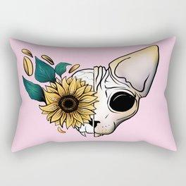 Sunflower Sphynx Cat Skull - Pastel Pink Rectangular Pillow