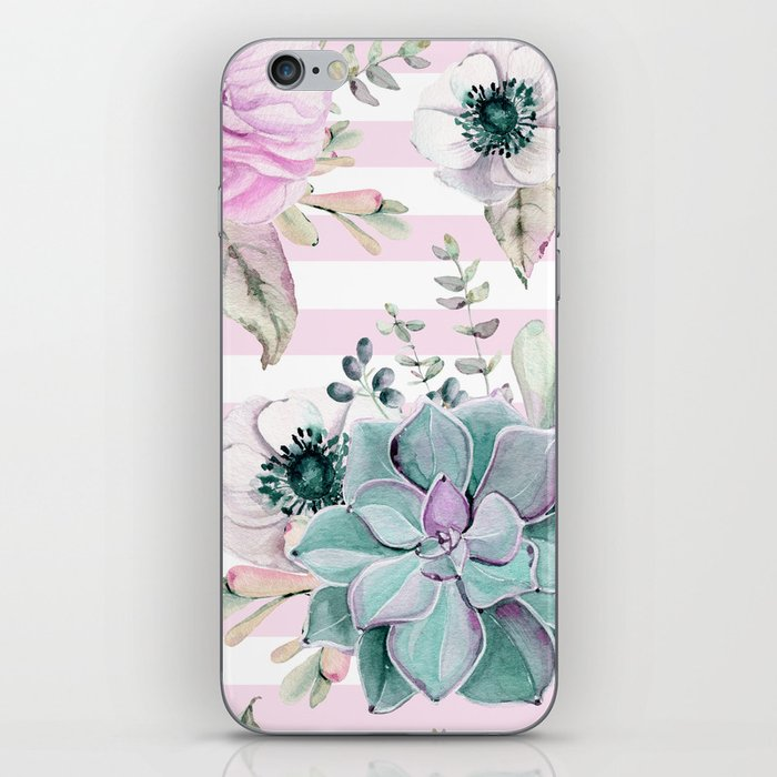 Simply Succulent Garden on Desert Rose Pink Striped iPhone Skin