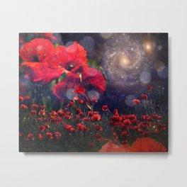 Celestial Poppy Field Metal Print