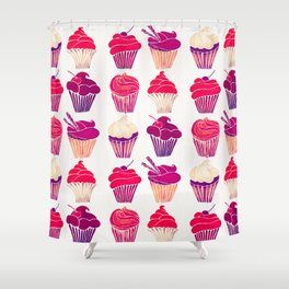 Cupcakes – Fuchsia Palette Shower Curtain