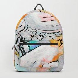 Hands of the ceramist craftsman Backpack