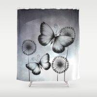 butterflies Shower Curtains featuring Butterflies by LouJah
