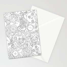 Clockwork B&W / Cogs and clockwork parts lineart pattern Stationery Cards