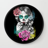 aaliyah Wall Clocks featuring Aaliyah - Day of the Dead by DejaLiyah