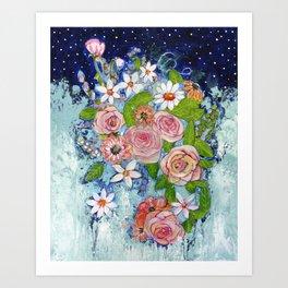 Celestial Sky Flower Garden Art Print
