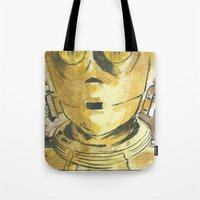 c3po Tote Bags featuring C3PO by Johannes Vick