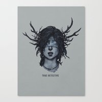 true detective Canvas Prints featuring True Detective  by yurishwedoff