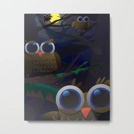Here Be Owls Metal Print