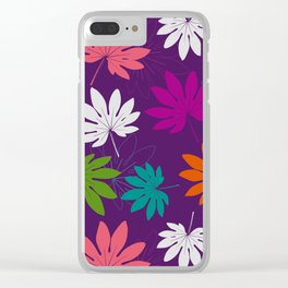 Purple tropical leaves Clear iPhone Case