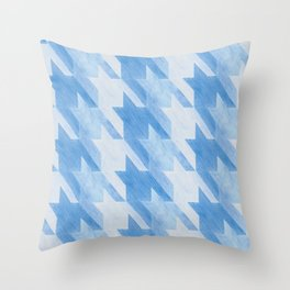 Blue Monochrome Houndstooths Throw Pillow