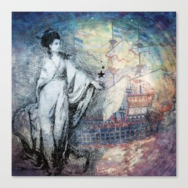 Inspire - A muse and her ship of dreams collage Canvas Print