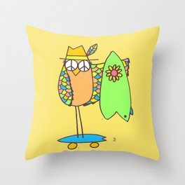 Keep Shredding Surf Skate Peace Owl Throw Pillow