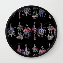 Macrame - Neon on Black Wall Clock