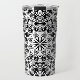 Black Heart Mandala Travel Mug