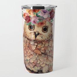 Owl with Flowers Travel Mug