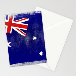 Australian Distressed Halftone Denim Flag Stationery Cards