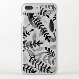 Watercolor branches - black and white Clear iPhone Case