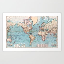 Vintage Map of The World (1897) Art Print