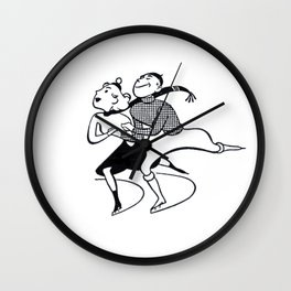 Retro Ice Skaters - Happy Winter Wall Clock