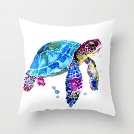 Sea Turtle, Blue Purple Turtle illustration, Sea Turtle design Throw Pillow