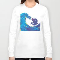 hokusai Long Sleeve T-shirts featuring Hokusai Rainbow & Babydolphin by FACTORIE