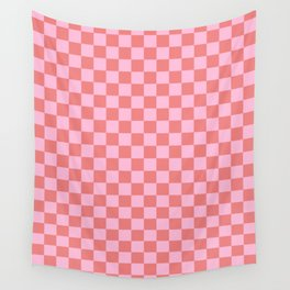 Cotton Candy Pink and Coral Pink Checkerboard Wall Tapestry