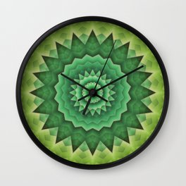 Mandala Green Life Wall Clock