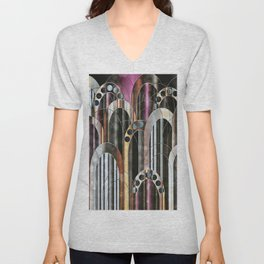 Empire Mulberry Abstract Cityscape Unisex V-Neck