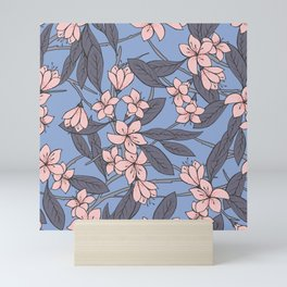 Sakura Branch Pattern - Rose Quartz + Serenity Mini Art Print