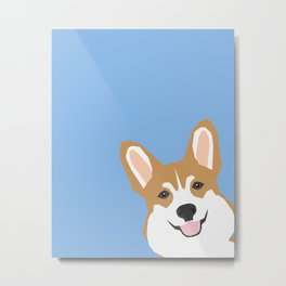 Corgi Peek  cute dog welsh corgi gift unique pet customizable gifts for dog lovers Metal Print
