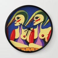 sisters Wall Clocks featuring Sisters by billARTS